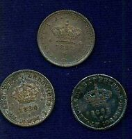 PORTUGAL  50 REIS  COINS: 1861 1880 & 1893 LOT OF 3