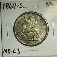 1864 S  SEATED LIBERTY HALF  TONED  BU