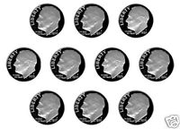 1980   1989 S CLAD PROOF ROOSEVELT DIMES   10 NICE PROOFS 12/15