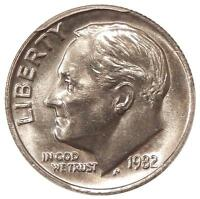 1982 NO P 10C PCGS MS 66 STRONG QA   NEAT ROOSEVELT DIME   QA CHECK APPROVED