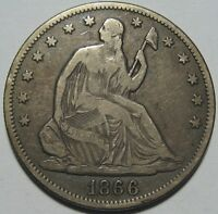 1866 VF SEATED LIBERTY HALF SUPER EYE APPEAL