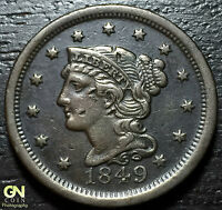 1849 BRAIDED HAIR LARGE CENT     MAKE US AN OFFER  Y2343