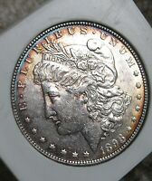 1898  MORGAN SILVER DOLLAR   NICE LUSTER COLORFUL PERIPHERAL TONING 1745