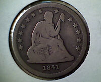 1841 P  25C LIBERTY SEATED QUARTER  DATE