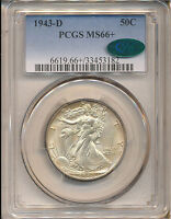 1943-D WALKING LIBERTY HALF MINT STATE 66 PCGS CAC