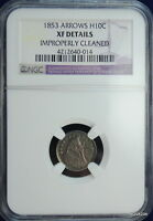 1853 H10C ARROWS SEATED LIBERTY HALF DIME NGC XF DETAILS