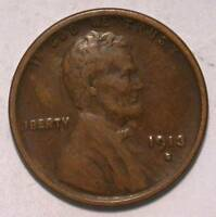 1913-S EXTRA FINE  LINCOLN WHEAT SMALL CENT ID AA299