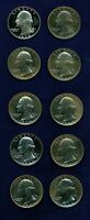 U.S.  1968 1978  WASHINGTON PROOF QUARTERS LOT OF 10
