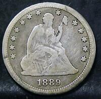 1889 FINE LIBERTY SEATED QUARTER ID TT965
