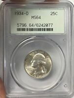 1934 D WASHINGTON SILVER QUARTER PCGS MS64  SLAB 2.0 HOLDER 42077