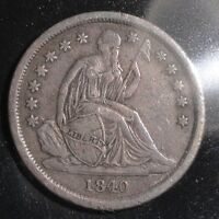 1840 SEATED LIBERTY SILVER DIME NO DRAPERY. NICE COLLECTOR COIN FOR YOUR SET.