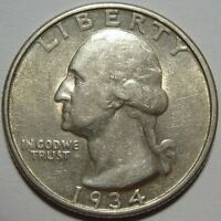 1934 D AU WASHINGTON QUARTER