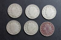 LOT OF 6 LIBERTY HEAD NICKELS 1905, 1906, 1907, 1908, 1909 AND 1910