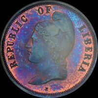 EYE POPPING COOL 1890 LIBERIA 2C NGC PF64 BN KM PN53 PATTERN UBER TONED PURPLE