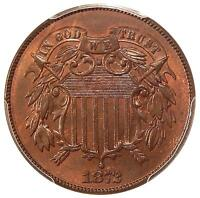 1872 2C PCGS MINT STATE 63 RB DBL DIE OBV FS-101  POP 1 TWO CENT COPPER VARIETY