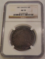 1807 DRAPED BUST HALF DOLLAR AU 55 NGC