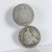 RAW SEATED LIBERTY 50C 2 PACK 1877 1877 S CIRCULATED US MINTSILVER HALF DOLLARS