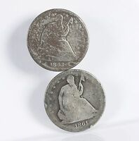 RAW SEATED LIBERTY 50C 2 PACK 1861 S 1863 S CIRCULATED US SILVER HALF DOLLARS