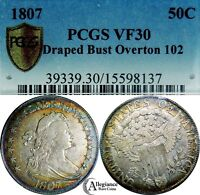 1807 50C DRAPED BUST HALF DOLLAR PCGS VF30 O-102  OLD COIN RAINBOW TONED