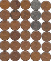 1940  TO 1949 PDS  /  FINES  /  50 COIN ROLL OF  LINCOLN CENTS   FREE SHIP