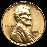 1958 D UNCIRCULATED LINCOLN WHEAT CENT PENNY BU B02