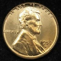 1957 D UNCIRCULATED LINCOLN WHEAT CENT PENNY BU B01