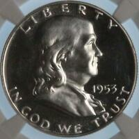 1953 P FRANKLIN HALF NGC PF64 CAMEO BEAUTIFUL  COIN BLACK AND WHITE CAMEO