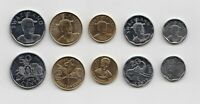 SWAZILAND    SET OF 5 COINS   2015 COINS FROM 10 CENTS   2 EMALANGENI
