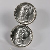 2 PACK MERCURY 10C 1937 1939 D PHILLY & DENVER US MINTED SILVER DIME COIN LOT