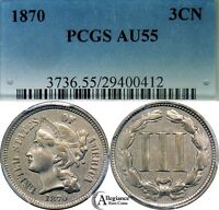1870 THREE CENT NICKEL PCGS AU55  CLASSIC OLD TYPE COIN CHOICE GRADE DDO?