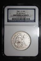 1861 O SEATED LIBERTY HALF DOLLAR FROM THE SS REPUBLIC SHIPWRECK NGC CERTIFIED