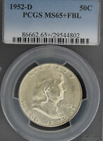1952 D FRANKLIN PCGS MS 65 PLUS FBL. BORDERING ON MS66FBL 1 OF ONLY 14.