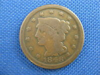 1848 U.S BRAIDED HAIR COPPER LARGE CENT COIN