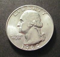 1964 D  WASHINGTON QUARTER   90 SILVER      S474