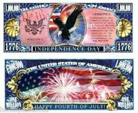 INDEPENDENCE DAY 1776 MILLION DOLLAR USA BANKNOTE MEMORIAL 470 2 4 JULY 1776