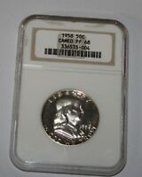 1958 FRANKLIN HALF NGC GRADED PF 68 CAMEO   GREAT ESTATE FIND