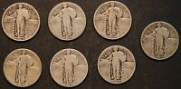 CIRCULATED STANDING LIBERTY QUARTERS 7   1925,1926,1927,1929,1930    LOT 2C