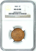 1865 TWO CENT PIECE NGC MINT STATE 65 RB  RETAIL $800.00