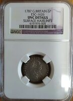 GREAT BRITAIN SILVER COIN 6 PENCE 1787 UNC DETAIL