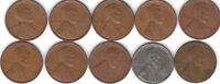 1940D  TO  1949D  LINCOLN CENT  ROLL   5  OF EACH DATE   1940'S