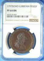 1797 SOHO GREAT BRITAIN GEORGE III PROOF PENNY NGC GRADED PF64