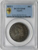 1812/1 SMALL 8 CAPPED BUST HALF 50C XF 40 PCGS SECURE LABEL