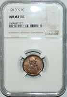 1913 S NGC MINT STATE 63RB RED AND BROWN LINCOLN CENT