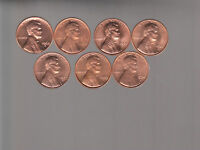1968S THRU 1974S  LINCOLN CENTS  SET OF 7 BU S MINTS  X5 SETS RSCOINS SHIPS FREE