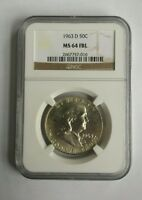 1963 D NGC MS 64 FBL FULL BELL LINE FRANKLIN HALF DOLLAR