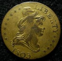 1803 HALF EAGLE GOLD PATTERN COUNTER TOKEN ORIGINAL GILT