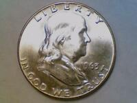 SILVER 50 CENTS1963 D FRANKLIN HALF DOLLAR BRILLIANT UNCIRCULATED BU