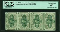 1862 63  10 CENT FRACTIONAL CURRENCY FR 1242 CERTIFIED PCGS XF45 STRIP OF 4
