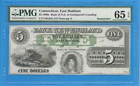 1860'S BANK OF NEW ENGLAND EAST HADDAM CONNECTICUT FIVE DOLLAR NOTE PMG 65 EPQ