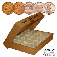 PENNY DIRECT FIT AIRTIGHT A19 MM COIN CAPSULE HOLDERS FOR PENNIES  QTY 50  W/BOX
